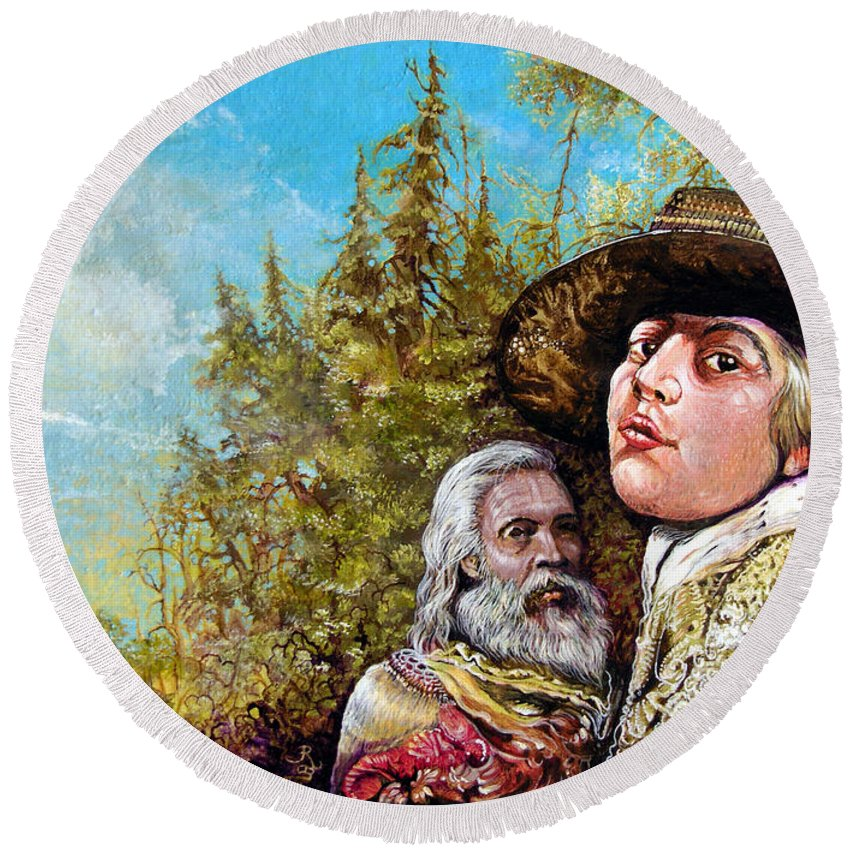 Surrealism Round Beach Towel featuring the painting The Dauphin And Captain Nemo Discovering Bogomils Island by Otto Rapp