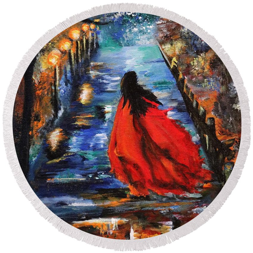 Acrylic Oil Painting Round Beach Towel featuring the painting The Dawn by Richa Anand
