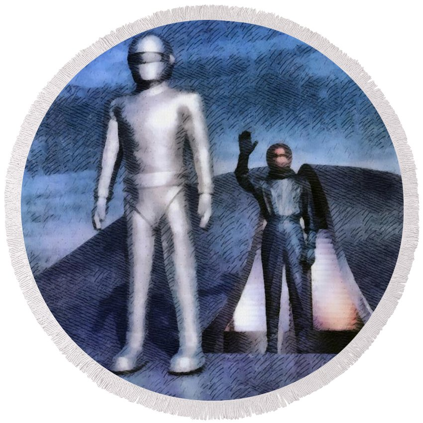 Hollywood Round Beach Towel featuring the painting The Day The Earth Stood Still by John Springfield