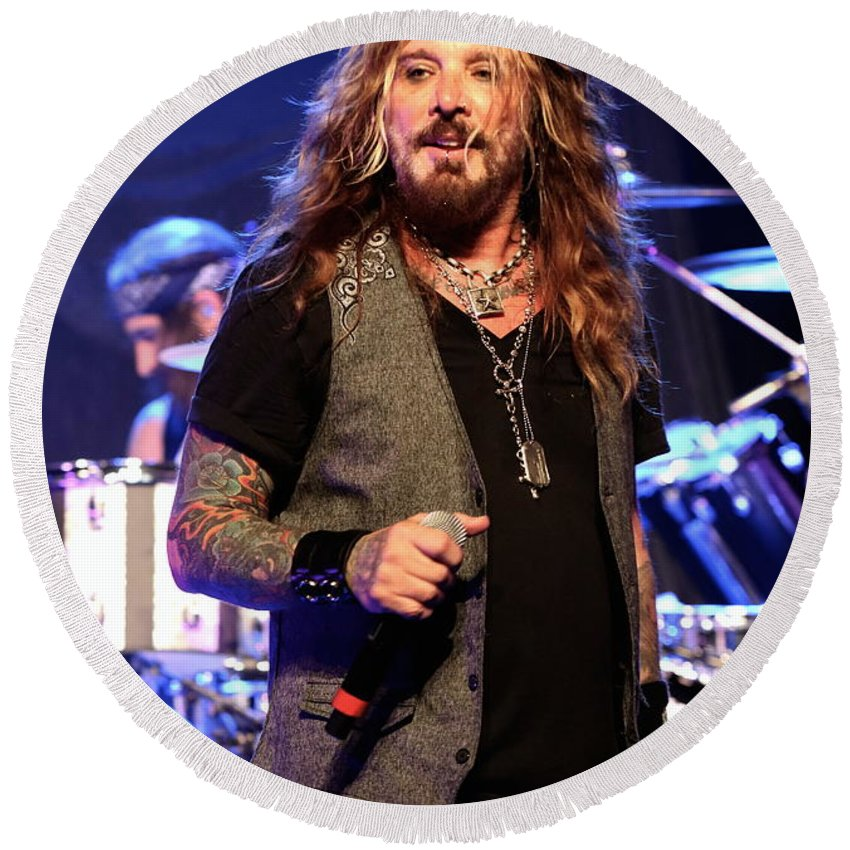 Singer Round Beach Towel featuring the photograph The Dead Daisies Singer John Corabi by Concert Photos