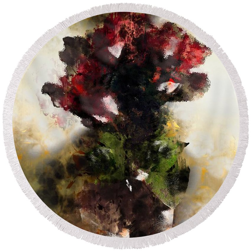 Semi-abstract Round Beach Towel featuring the painting The Death Of Innocence by RC DeWinter