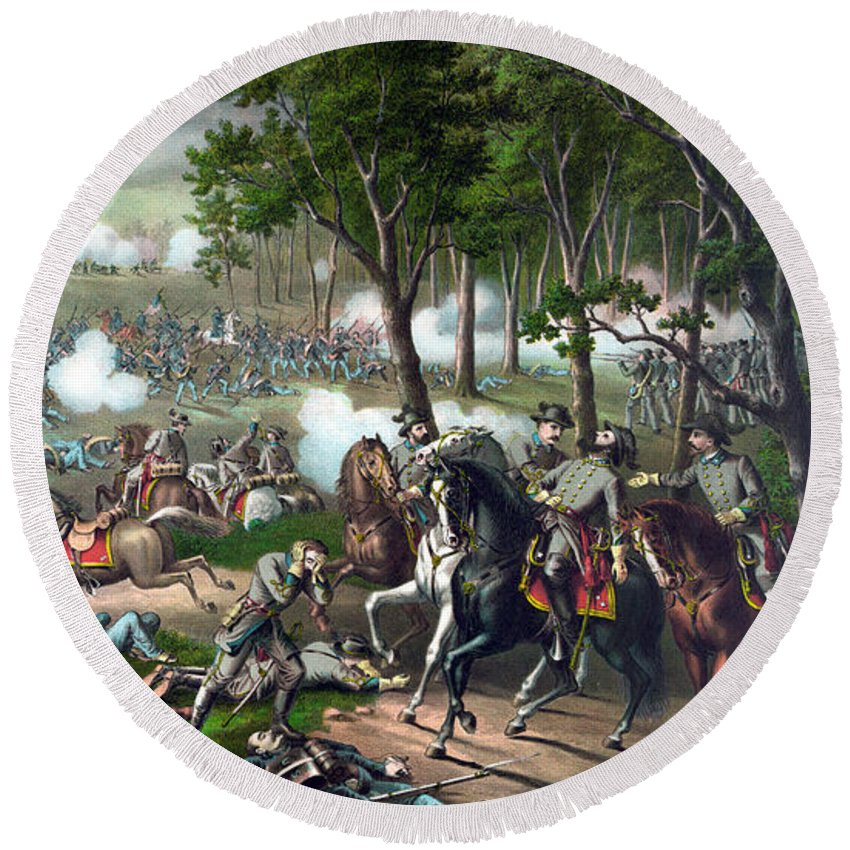 Civil War Round Beach Towel featuring the painting The Death Of Stonewall Jackson by War Is Hell Store
