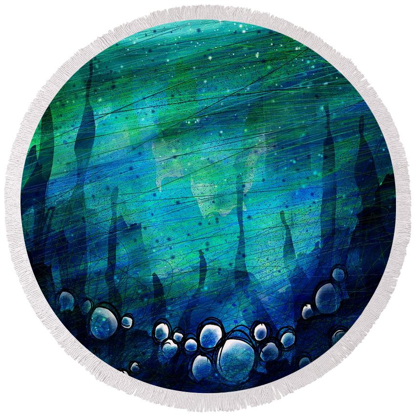 Abstract Round Beach Towel featuring the digital art The Deep Places by Rachel Christine Nowicki