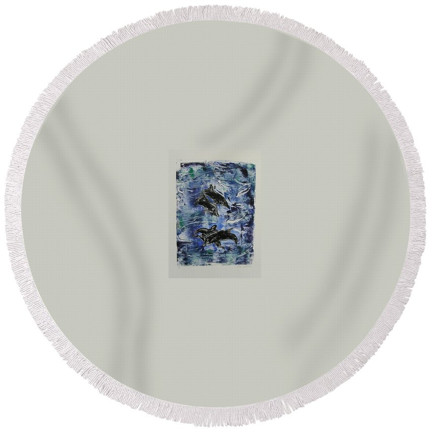Monotype Round Beach Towel featuring the mixed media The Deep Sea by Cori Solomon