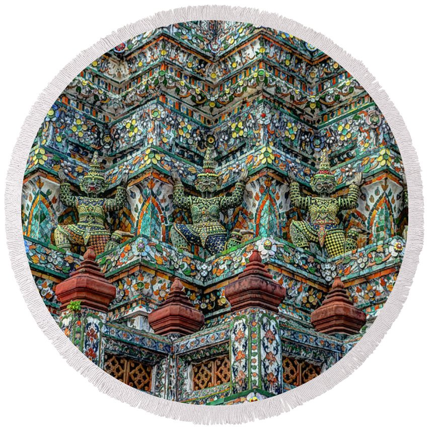 Michelle Meenawong Round Beach Towel featuring the photograph The Demons Of The Temple by Michelle Meenawong