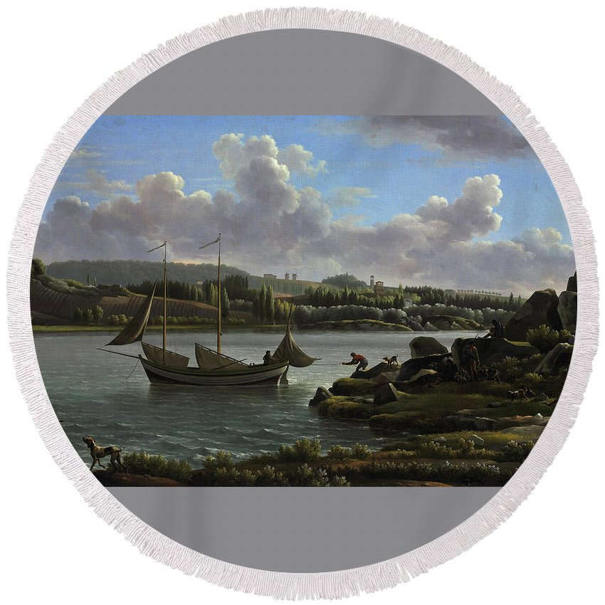 Jean-joseph-xavier Bidauld Round Beach Towel featuring the painting The Departure For The Hunt by Jean-Joseph-Xavier Bidauld