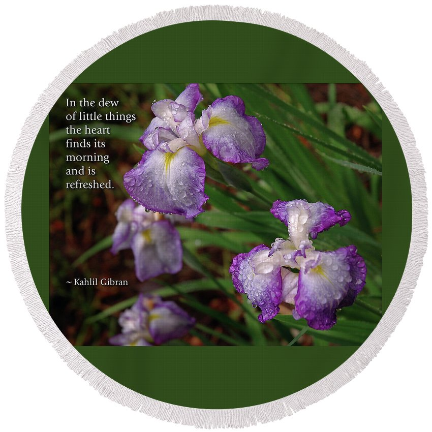 Iris Round Beach Towel featuring the photograph The Dew Of Little Things by Marie Hicks