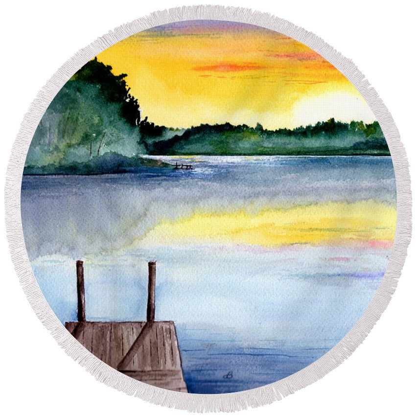 Watercolor Round Beach Towel featuring the painting The Dock by Brenda Owen