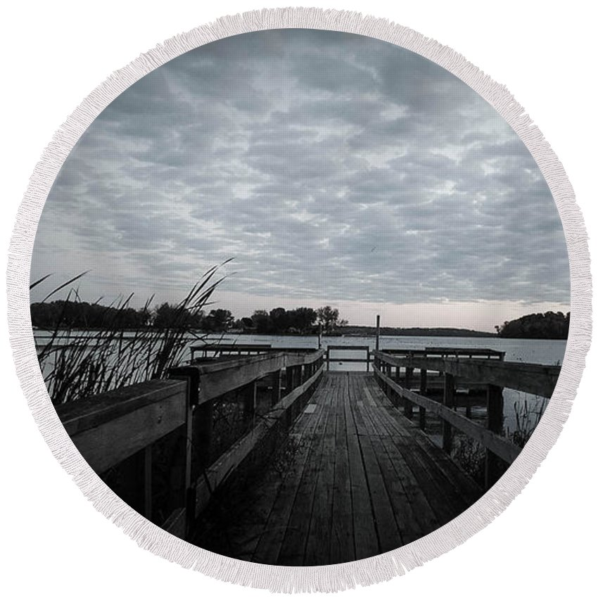 Water Round Beach Towel featuring the photograph The Dock by Tracy Welter
