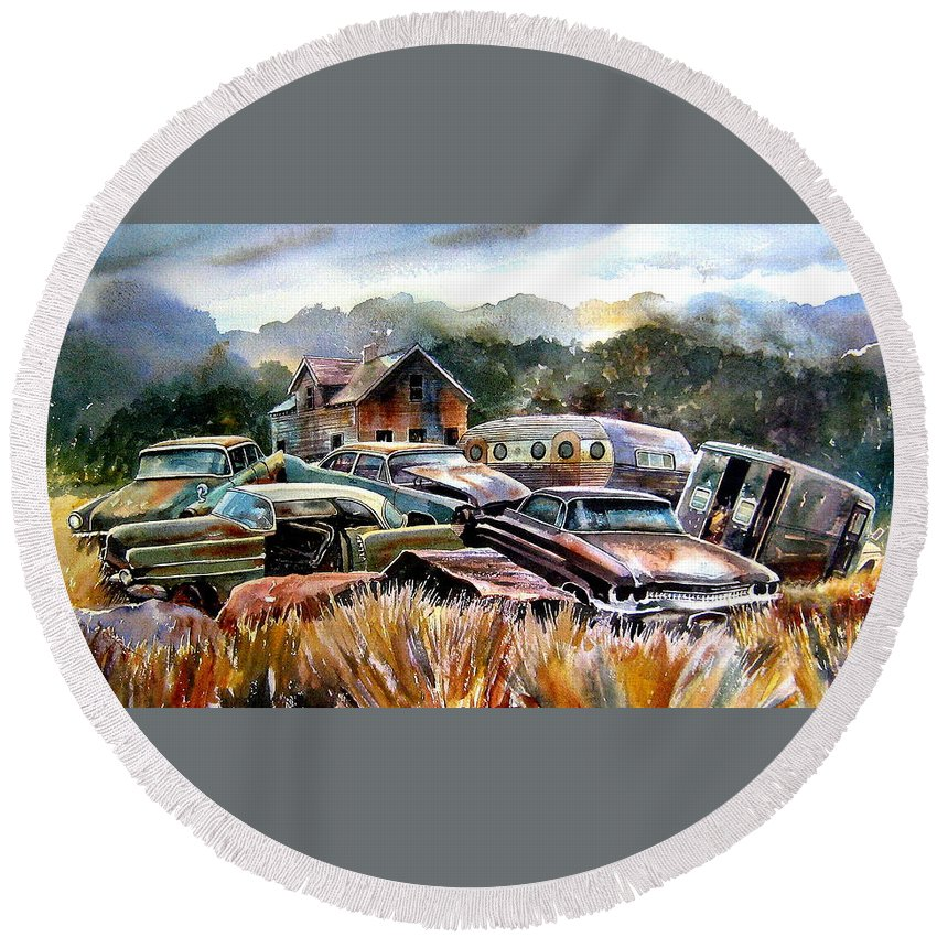 Old Wrecked Cars Round Beach Towel featuring the painting The Donor Cars by Ron Morrison