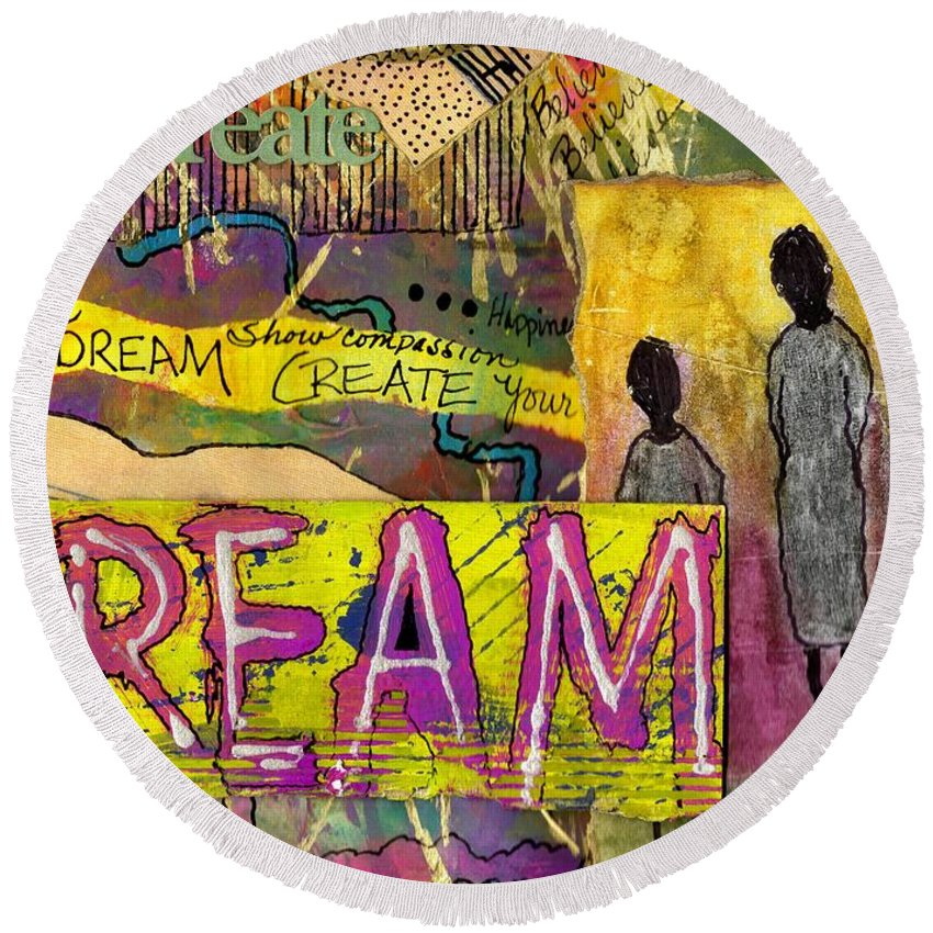 Acrylic Round Beach Towel featuring the mixed media The Dream Trio by Angela L Walker