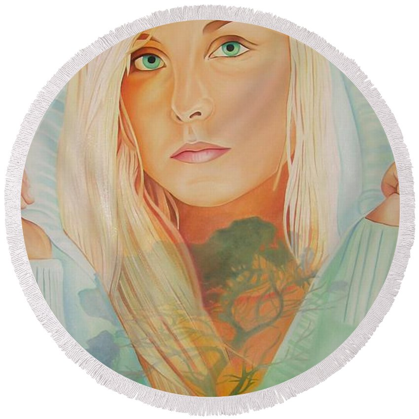 Beautiful Woman Round Beach Towel featuring the painting The Dreaming Tree by Joshua Morton