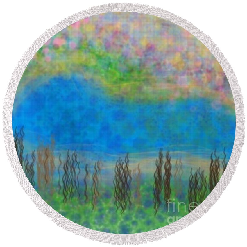 Abstract Round Beach Towel featuring the digital art The Dreamy Pond by Chris Dippel