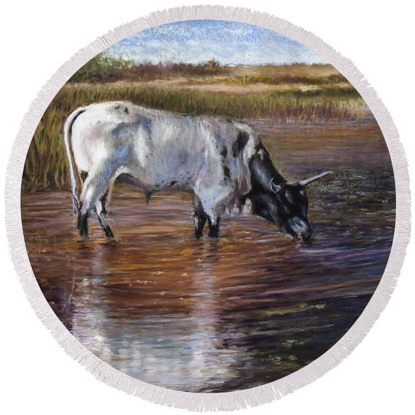 Cow Round Beach Towel featuring the pastel The Drink by Susan Jenkins