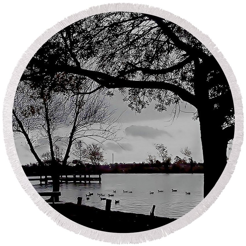 Black And White Round Beach Towel featuring the photograph The Duck Pond by Karen Wagner