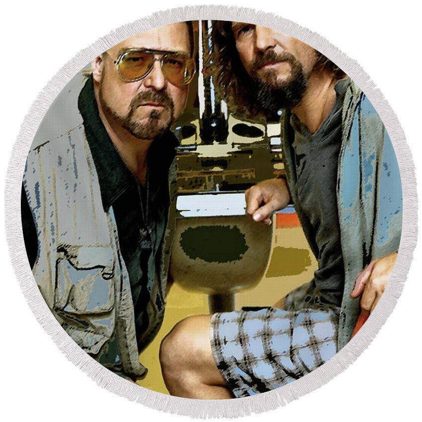 The Dude Abides Mixed Media Round Beach Towels