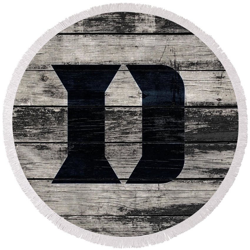 Duke Round Beach Towel featuring the mixed media The Duke Blue Devils 3f by Brian Reaves