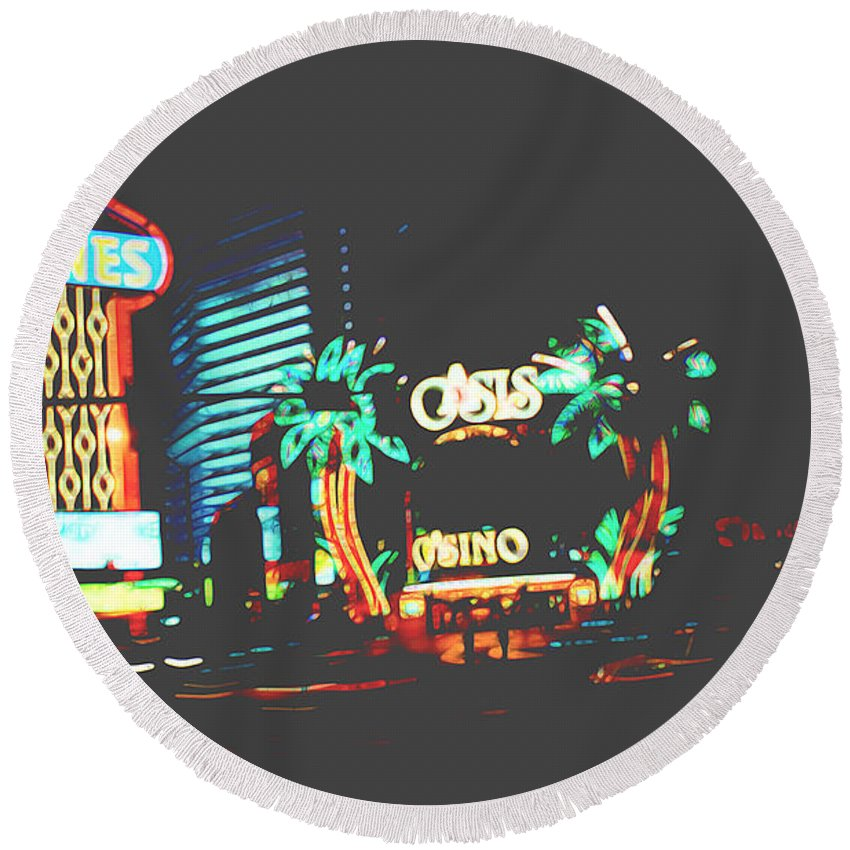 Round Beach Towel featuring the digital art The Dunes Casino by Cathy Anderson