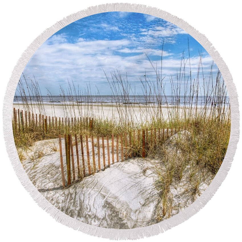 Clouds Round Beach Towel featuring the photograph The Dunes Special by Debra and Dave Vanderlaan