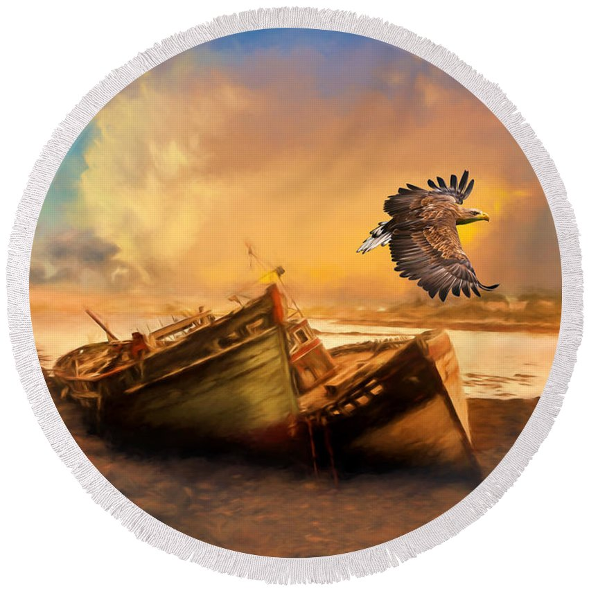 The Eagle And The Boat Round Beach Towel featuring the photograph The Eagle And The Boat by Georgiana Romanovna