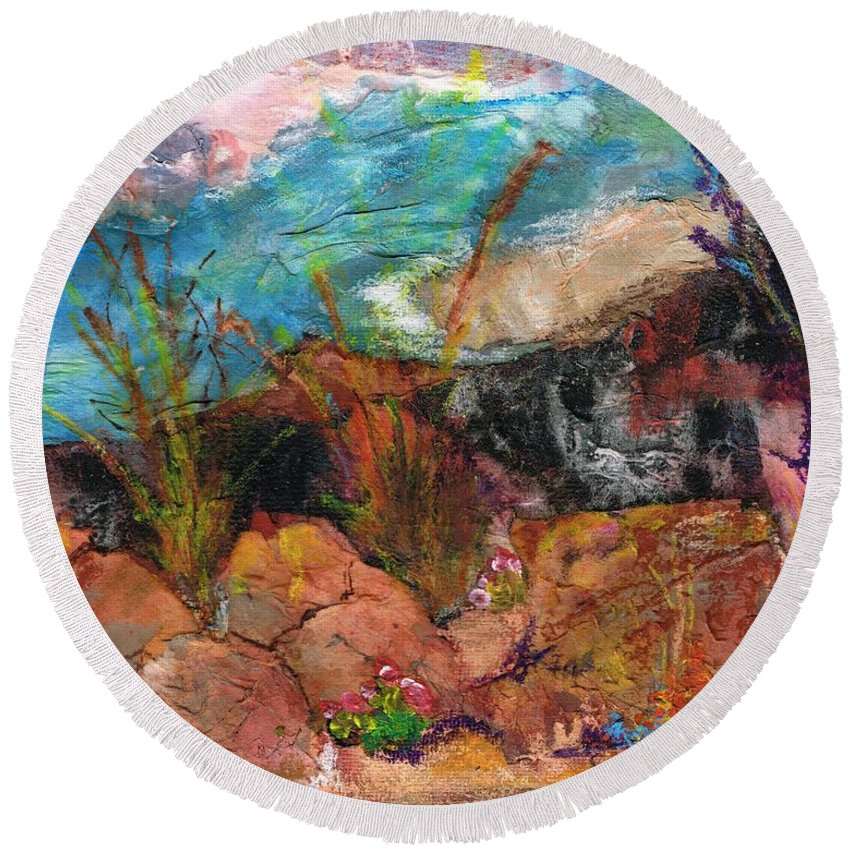 Desert Flowers Round Beach Towel featuring the painting The Edge Of The Cliff by Frances Marino