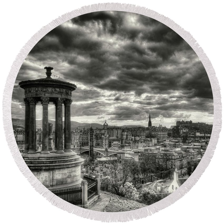 Sunset Round Beach Towel featuring the photograph The Edinburgh Skyline, And Dugald Stewart Monument. by Phill Thornton