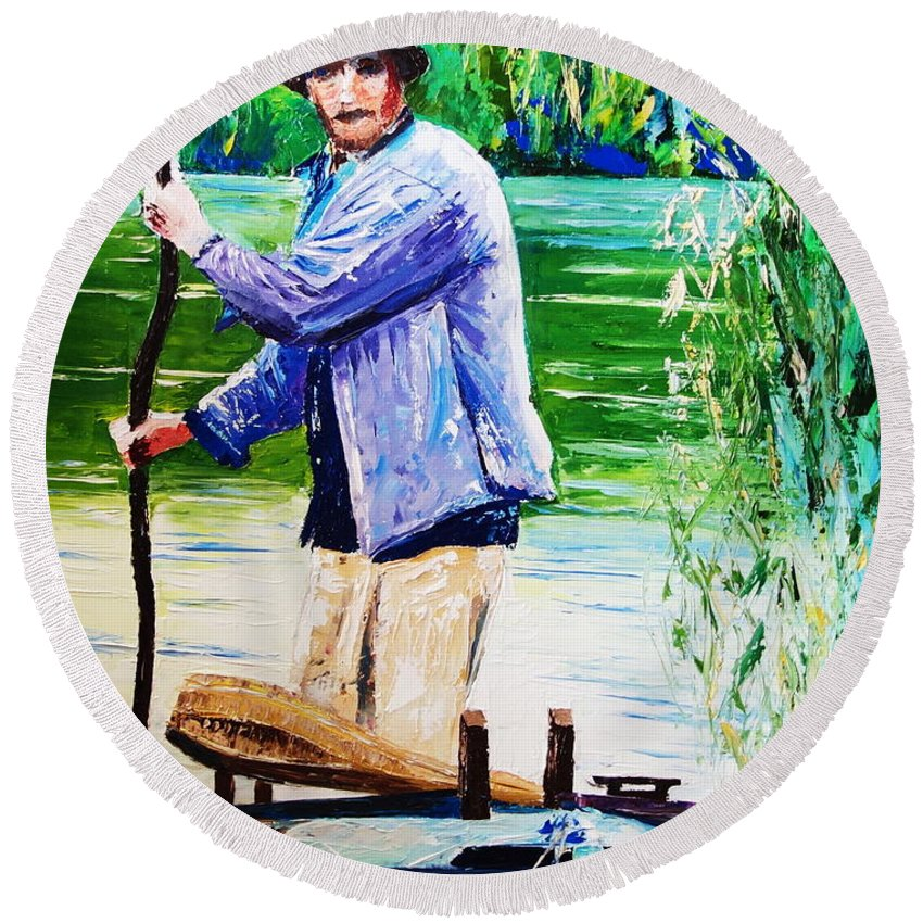 River Round Beach Towel featuring the painting The Eel Catcher by Valerie Curtiss