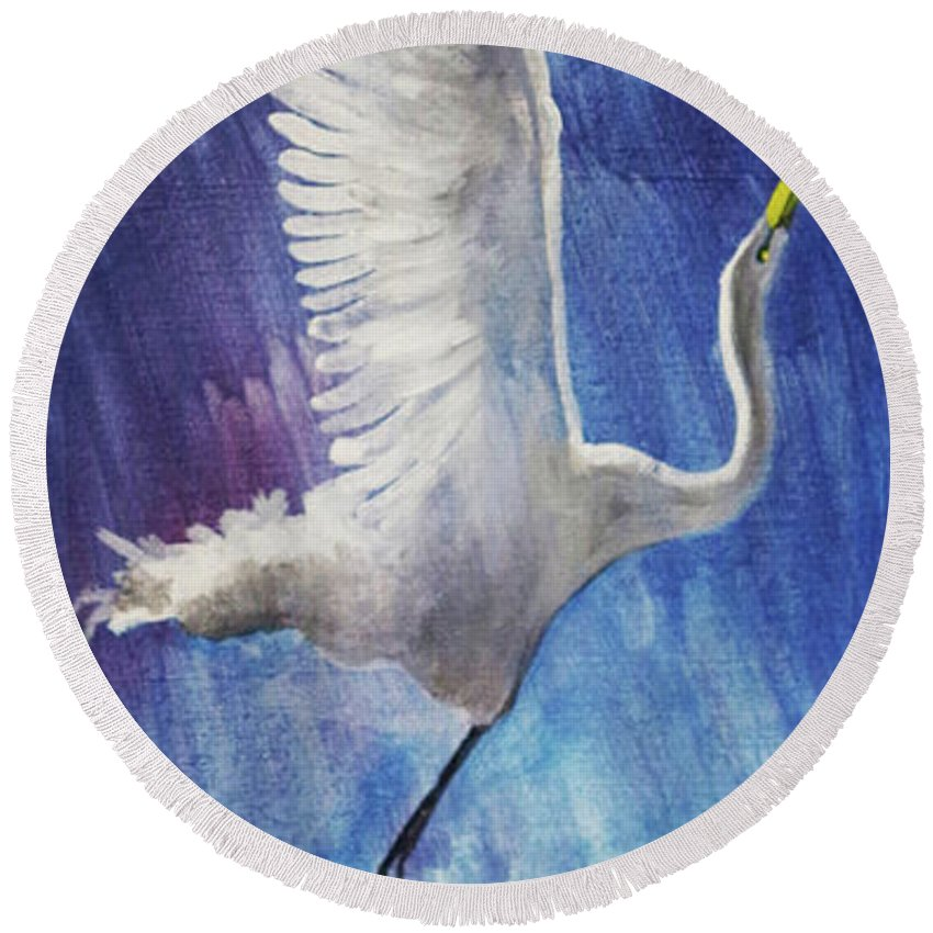 Egret Round Beach Towel featuring the painting The Egret by Seth Weaver