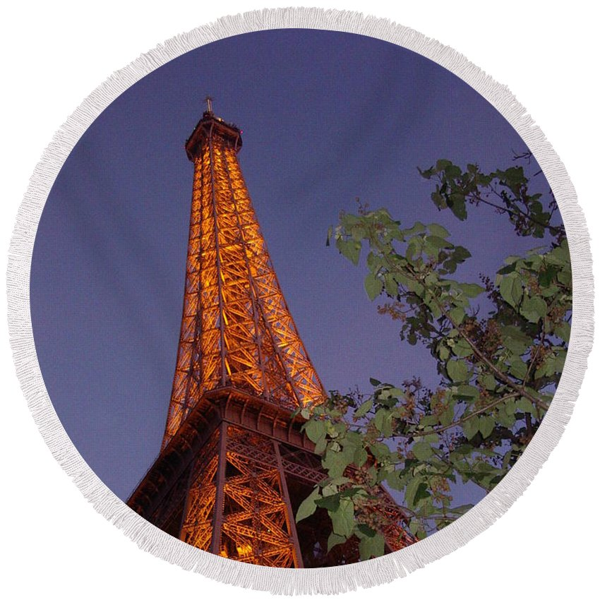 Tower Round Beach Towel featuring the photograph The Eiffel Tower Aglow by Nadine Rippelmeyer