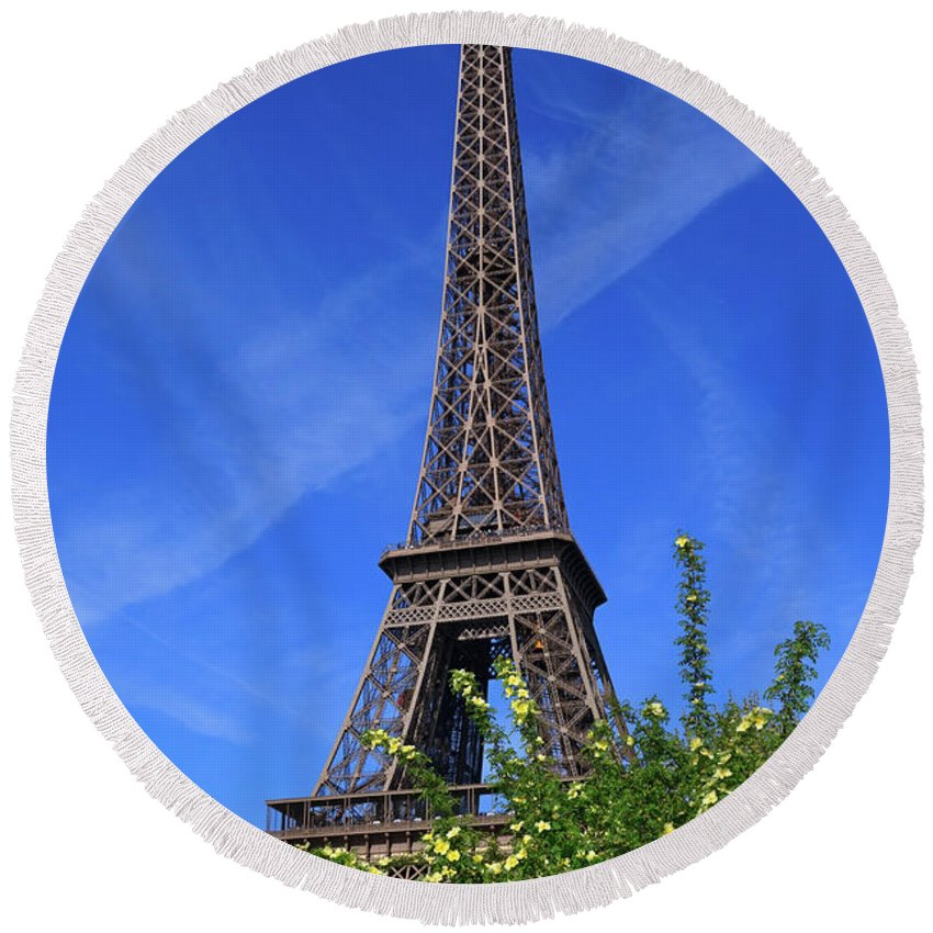 Eiffel Tower Round Beach Towel featuring the photograph The Eiffel Tower In Spring by Louise Heusinkveld