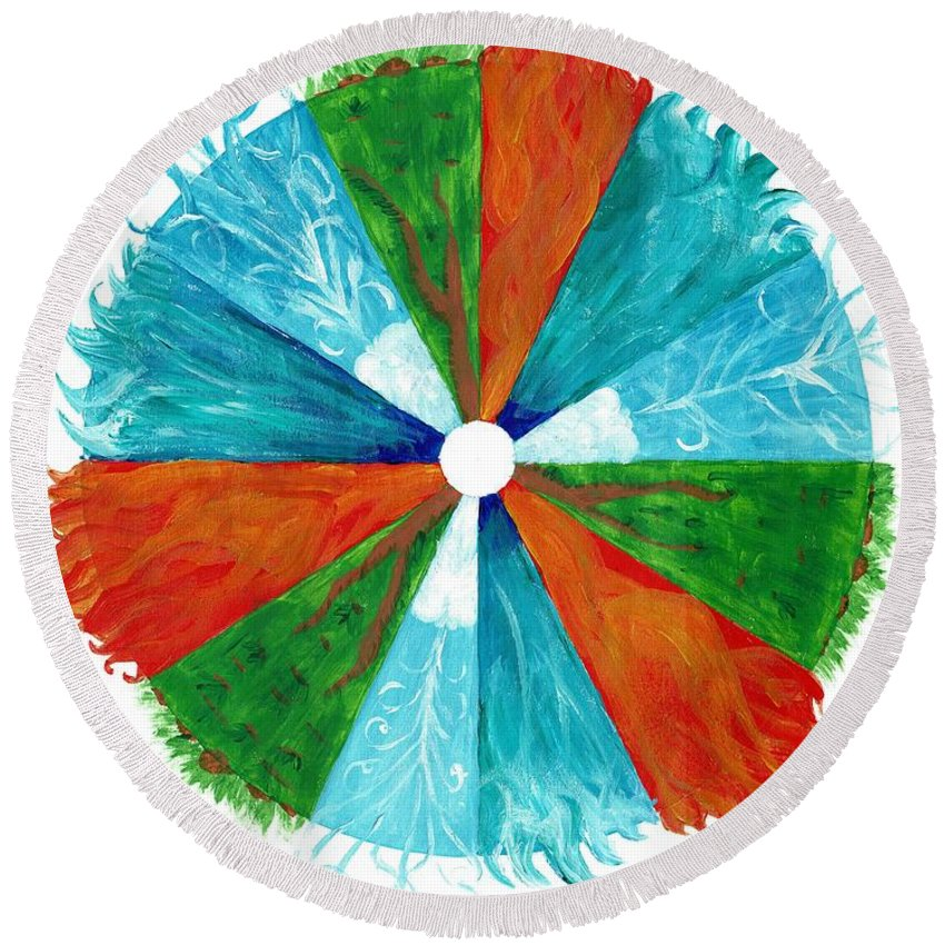 Fire Round Beach Towel featuring the painting The Elements by Christa Chandler