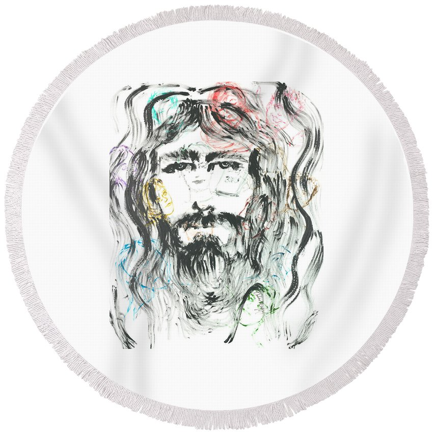 Jesus Round Beach Towel featuring the painting The Emotions Of Jesus by Nadine Rippelmeyer