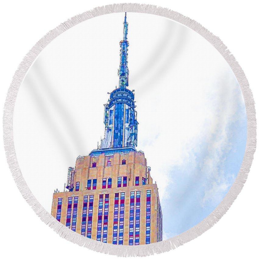 The Empire State Building Round Beach Towel featuring the painting The Empire State Building 1 by Jeelan Clark