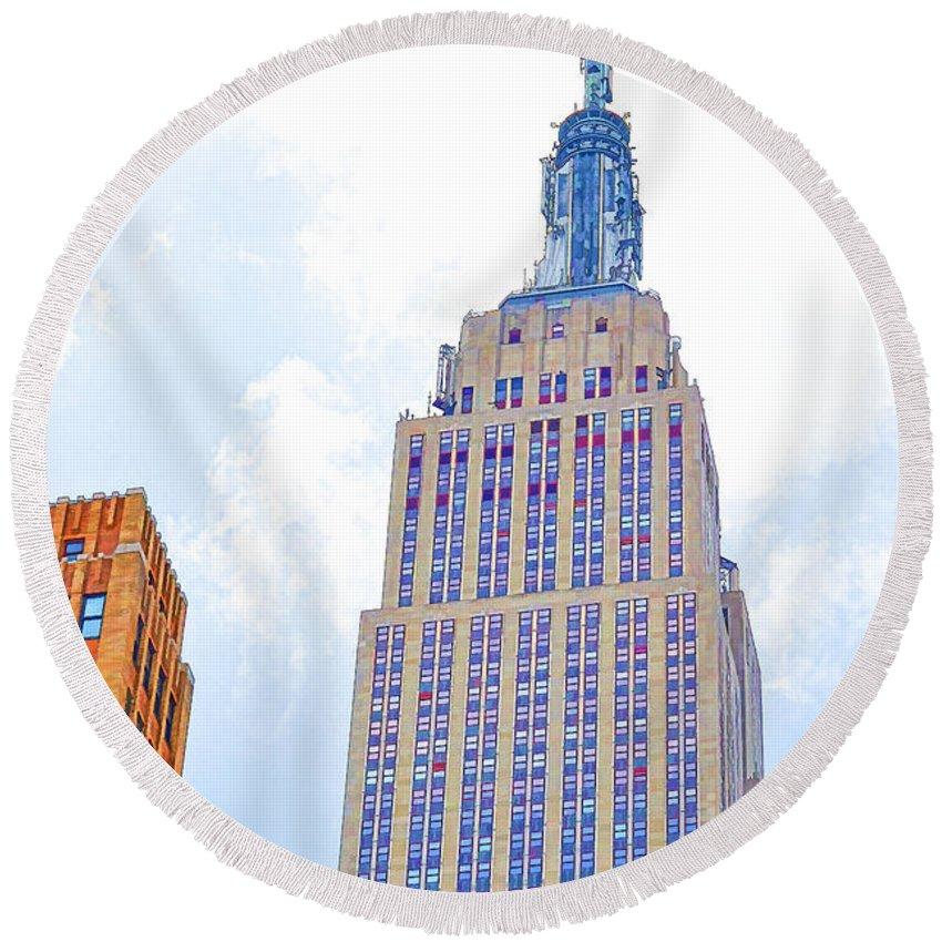 The Empire State Building Round Beach Towel featuring the painting The Empire State Building 2 by Jeelan Clark