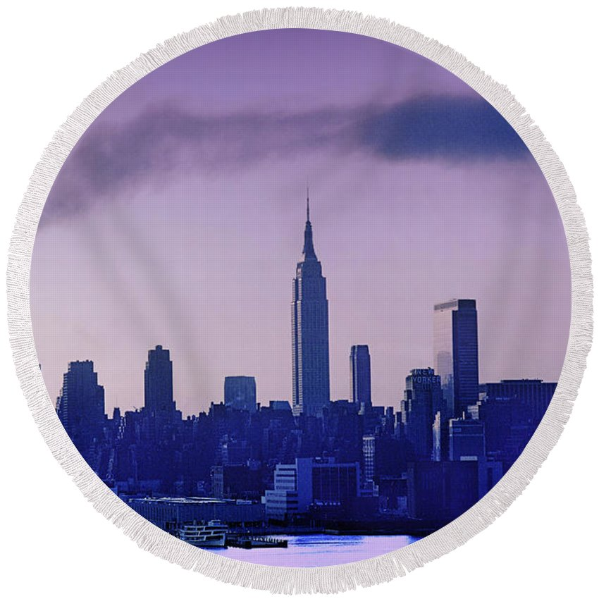 Empire State Building Round Beach Towel featuring the photograph The Empire State Building In New York At 6 A. M. In January by Yuri Lev