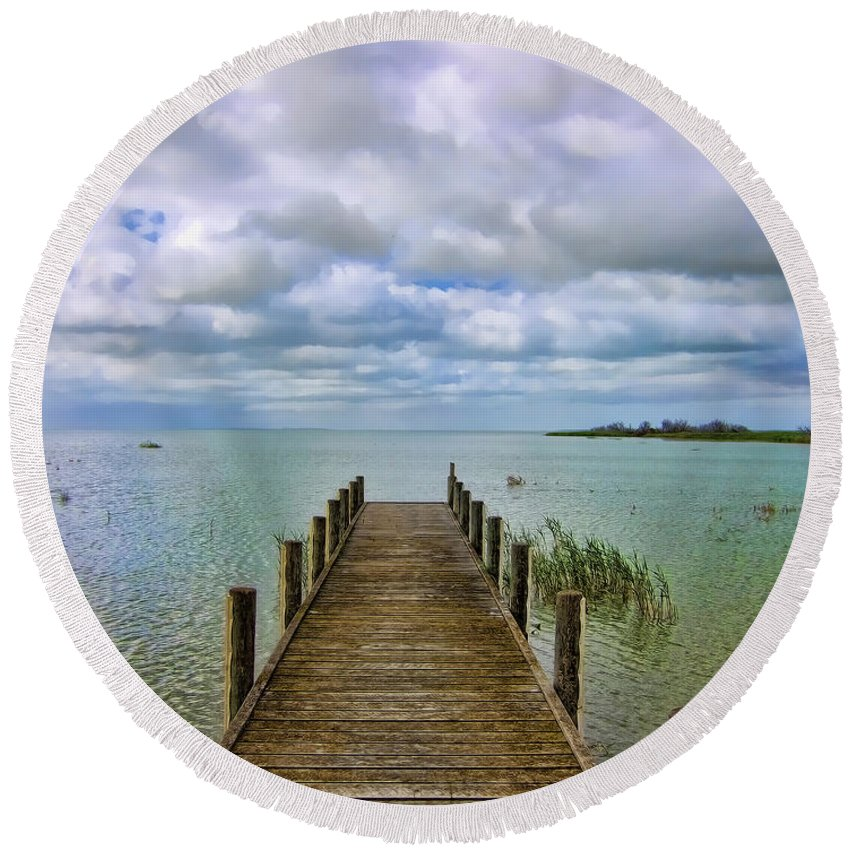 Jetty Round Beach Towel featuring the photograph The End by Douglas Barnard