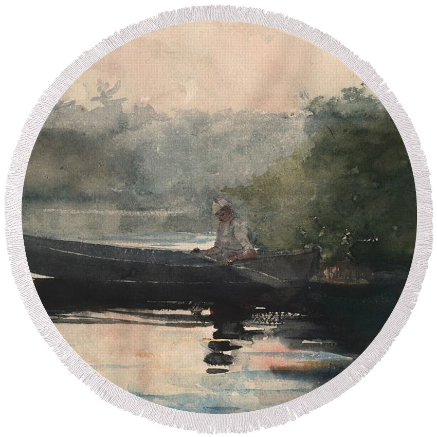 19th Century American Painters Round Beach Towel featuring the painting The End Of The Day Adirondacks by Winslow Homer