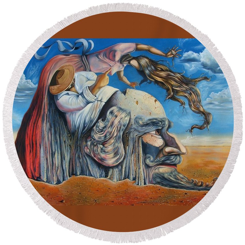 Surrealism Round Beach Towel featuring the painting The Eternal Obsession Of Don Quijote by Darwin Leon