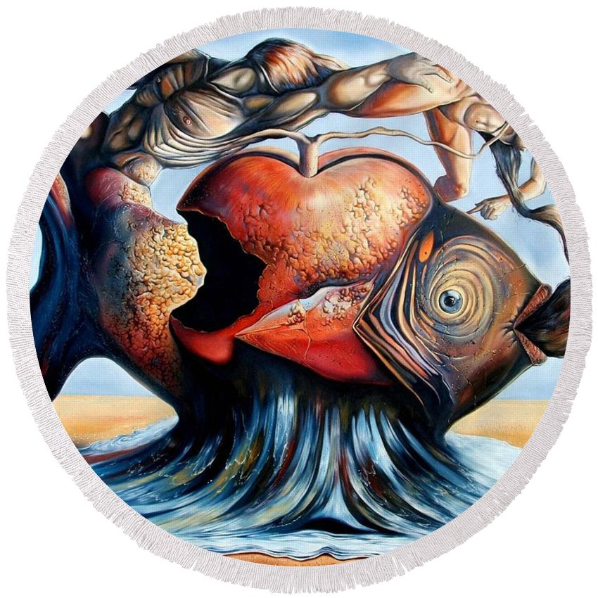 Surrealism Round Beach Towel featuring the painting The Eternal Question Of Time by Darwin Leon