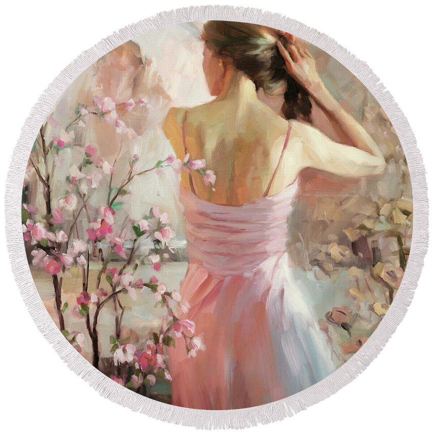 Woman Round Beach Towel featuring the painting The Evening Ahead by Steve Henderson