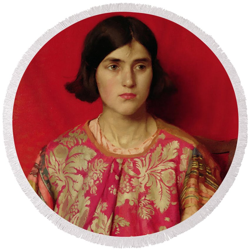 The Round Beach Towel featuring the painting The Exile - Heavy Is The Price I Paid For Love by Thomas Cooper Gotch