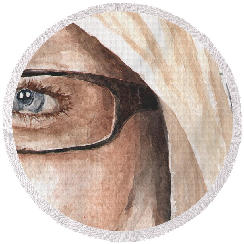 Eyes Round Beach Towel featuring the painting The Eyes Have It - Dustie by Sam Sidders