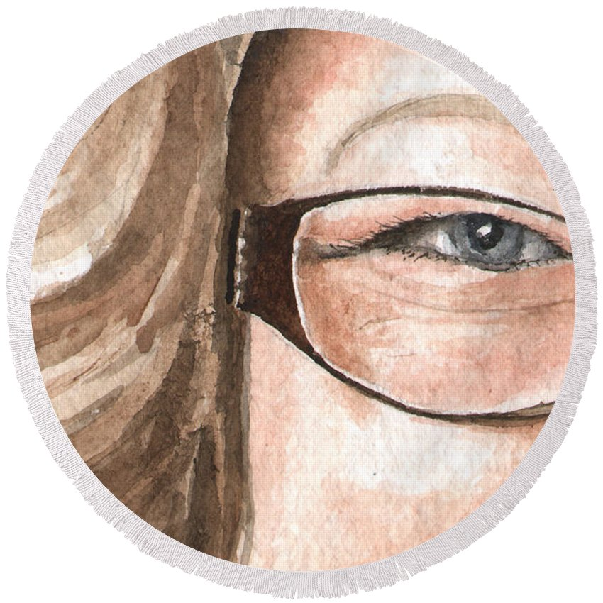 Eyes Round Beach Towel featuring the painting The Eyes Have It - Emma by Sam Sidders
