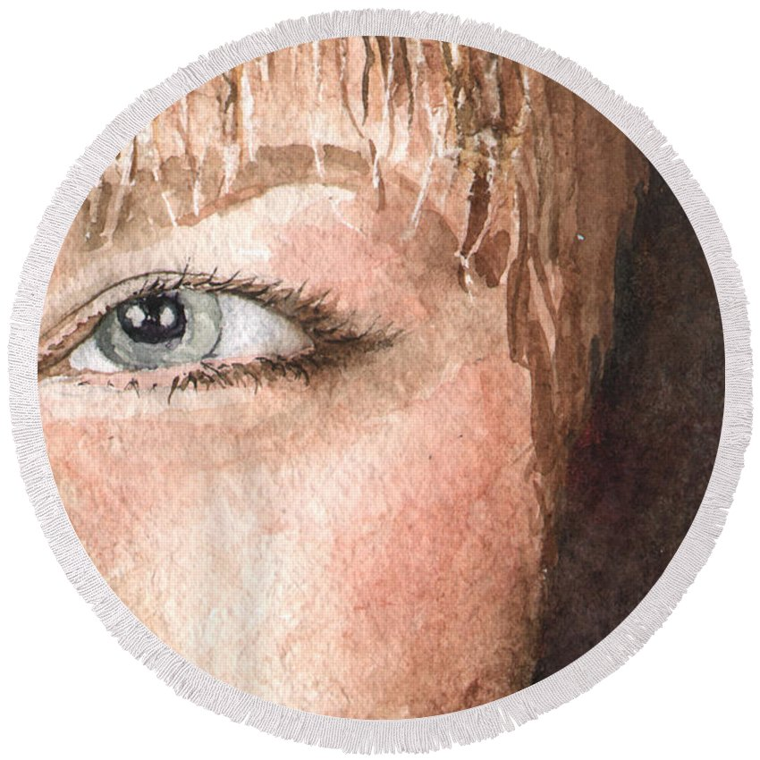 Eyes Round Beach Towel featuring the painting The Eyes Have It - Shelly by Sam Sidders