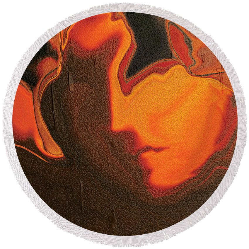 Abstract Round Beach Towel featuring the digital art The Face 2 by Rabi Khan
