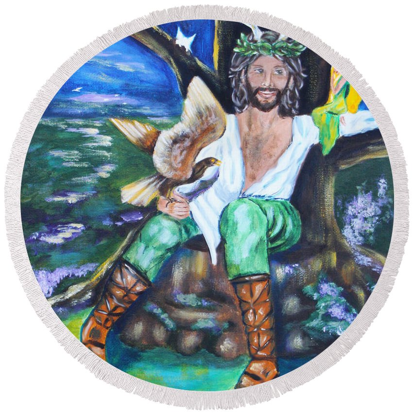 Faery Round Beach Towel featuring the painting The Faery King by Diana Haronis