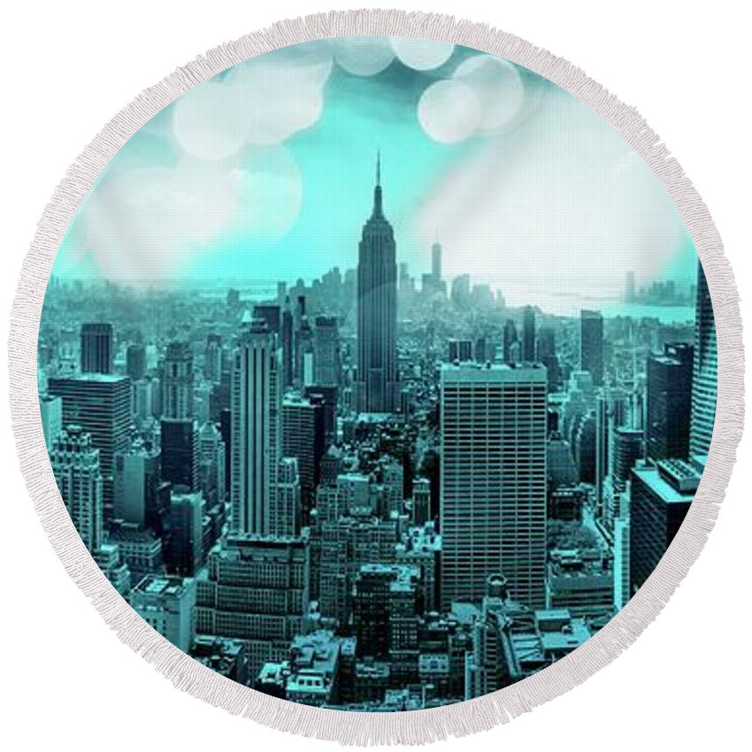 Empire State Building Round Beach Towel featuring the photograph The Fairytale Begins by Az Jackson