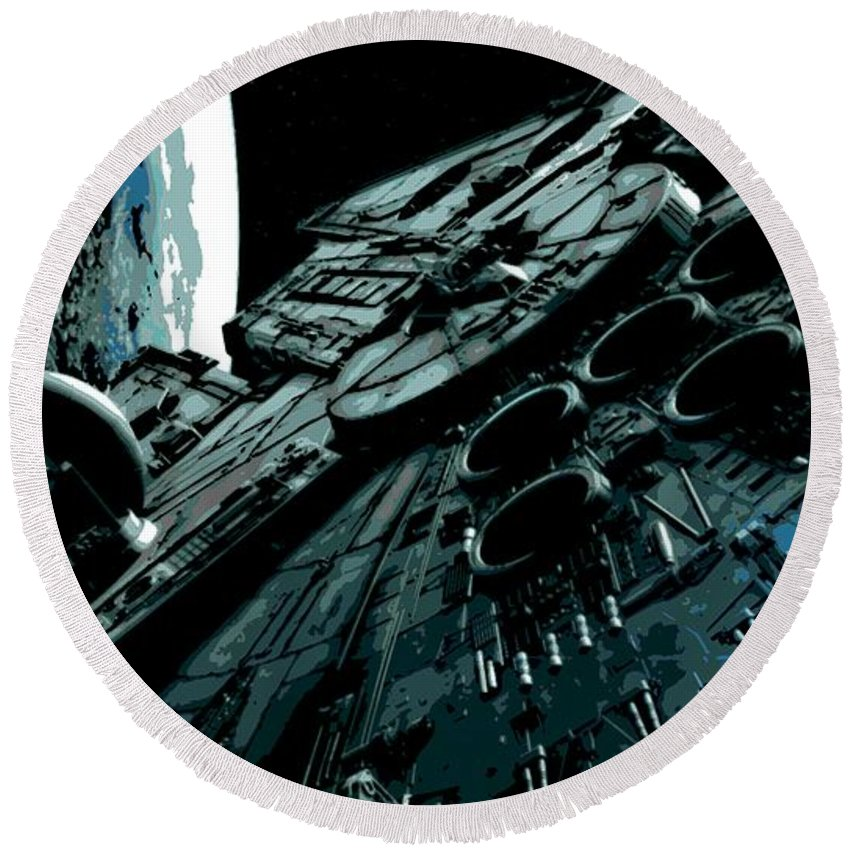 Millenium Falcon Round Beach Towel featuring the painting the Falcon by George Pedro