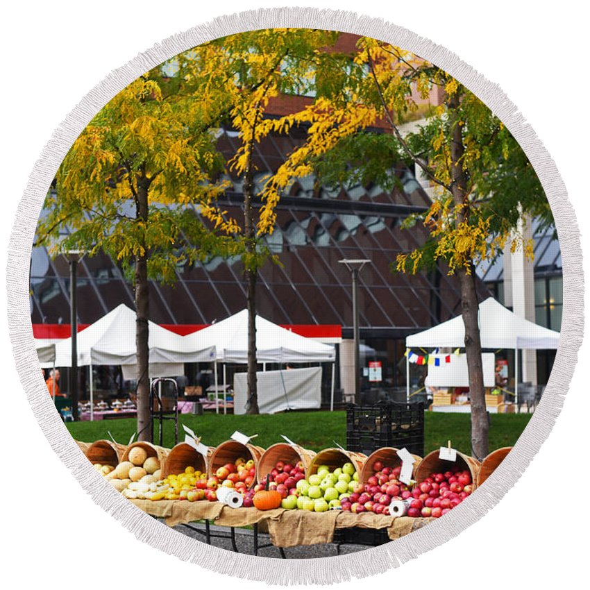 Kendall Round Beach Towel featuring the photograph The Fall Harvest Is In Kendall Square Farmers Market Foliage by Toby McGuire