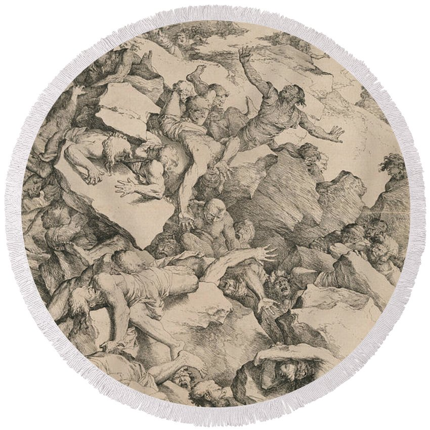 17th Century Art Round Beach Towel featuring the relief The Fall Of The Giants by Salvator Rosa